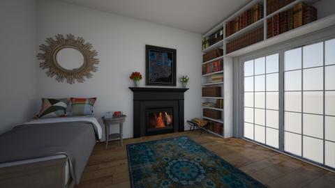cosy bookshelf room - Bedroom  - by goldenfang11