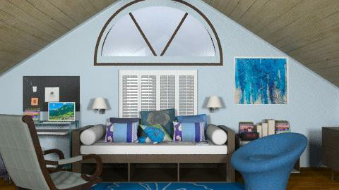 Girl's blue attic bedroom - Eclectic - Bedroom  - by alleypea
