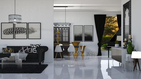 black white grey - Living room  - by ange06