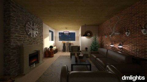 Rustic_Cabin - Rustic - Living room - by DMLights-user-1383470