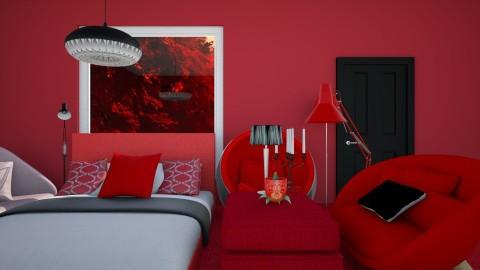 RED_BLACK_ - Modern - Bedroom  - by QueeOfHearts