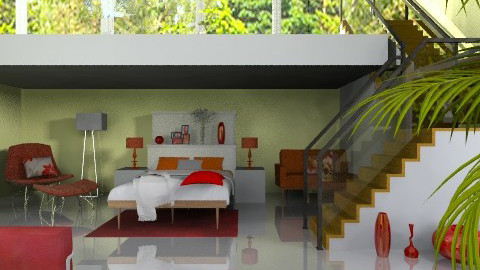 Fresh red - Modern - Bedroom  - by Laurika