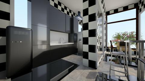 kitchen black white - Modern - Kitchen  - by Boka i Deki