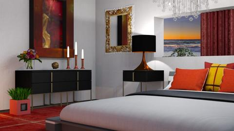 M_Red_ gold_black - Bedroom  - by milyca8