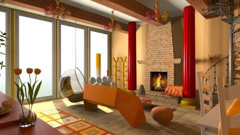 Orange tulips SSS  - Living room - by sophiesweetie8