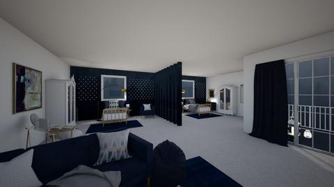 navy twin winter bedroom - Bedroom  - by ange06