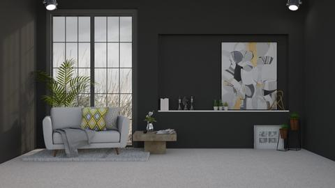 Grey Living Room - Minimal - Living room  - by KittyKat28