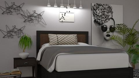 Black and White Bedroom - Bedroom  - by Over The Rainbow