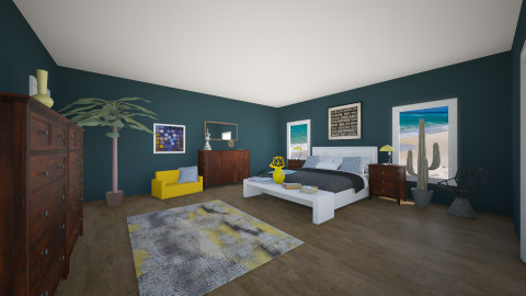 Mellow Yellow Blues - Bedroom - by Zoe_Roomstyler