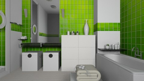 Lime bathroom - Modern - Bathroom  - by liling