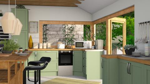 sweet green kitchen - Kitchen  - by i l o n a