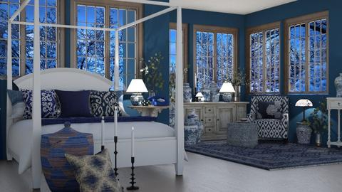White blue Bedroom - Bedroom  - by Bonnie Chappell