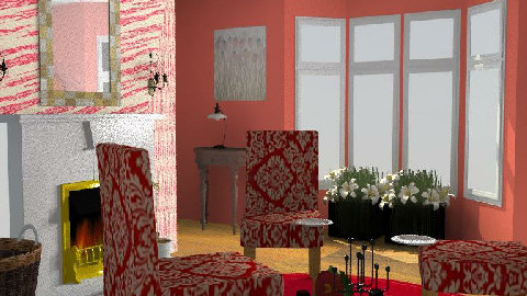 Red damask dining - Dining Room  - by Decorator1000