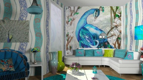 Peacock_3a - Eclectic - Living room  - by milyca8