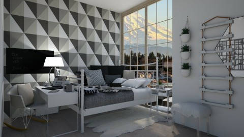 geometric white bedroom - by BWiktoriaa