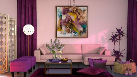Pink and purple living - Modern - Living room  - by RonRon
