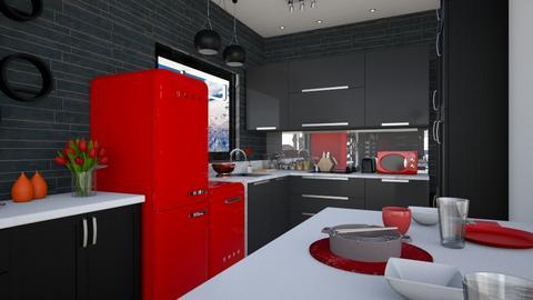 Red Black small kitchen  - Kitchen  - by Amyz625