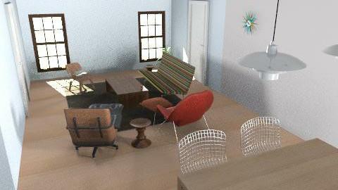 Whitesel Floor Plan2 - Retro - Living room  - by Julie Happel