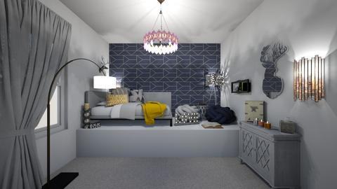 grey navy mustard - Bedroom  - by ange06