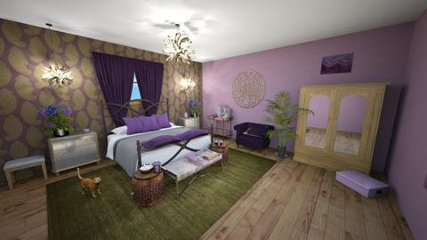 PinkPurple Bedroom - Feminine - Bedroom  - by Buffy7