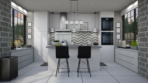 Monochrome Symmetrical - Kitchen  - by meggle