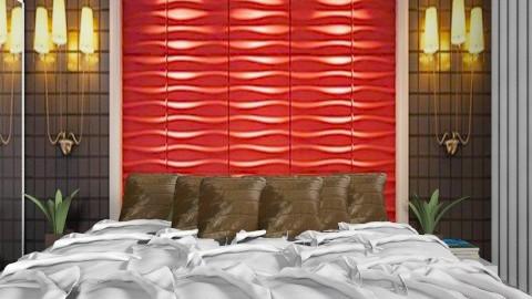Red brown green  bedroom - Bedroom  - by annasig