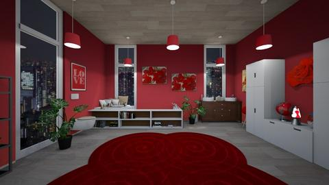 Red Bathroom - Feminine - Bathroom - by Yui Soo