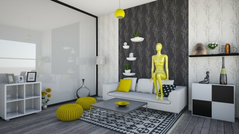 Yellow - Retro - Living room  - by kashanka