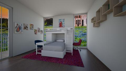 colorful twin bedroom  - Bedroom  - by cowplant_4life