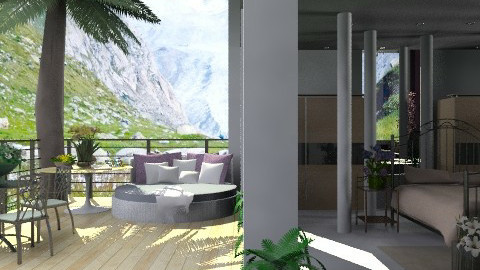 Mountain House: Bedroom with balcony. view 2 - Country - Bedroom  - by Your well wisher