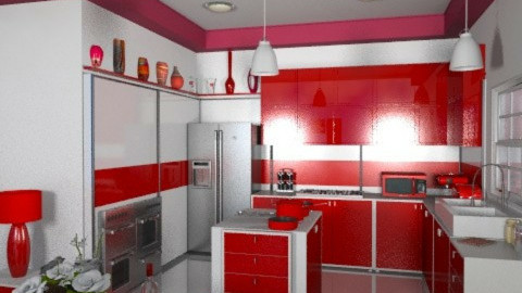 Modern Red - Modern - Kitchen  - by Bibiche