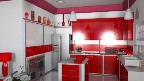 Modern Red - Modern - Kitchen - by Bibiche