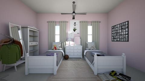 Normal Twin Girls Room - Bedroom  - by abigail_j_feinberg