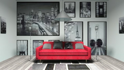 red black white and gray - Rustic - Living room  - by Charlotte Tayeh