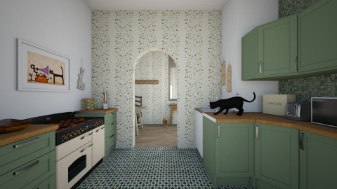 Green and brown - Rustic - Kitchen  - by JoyWillCome
