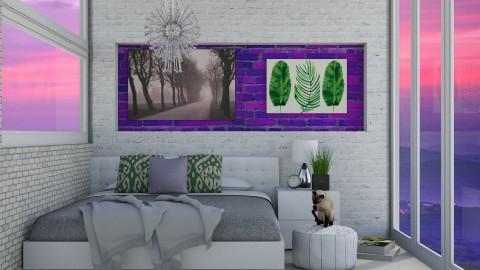 Purple and green bedroom - Modern - Bedroom  - by bgref