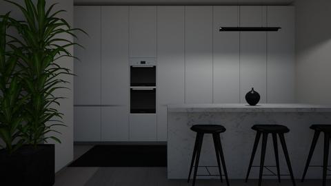 grey kitchen and white - Kitchen  - by Leona_2