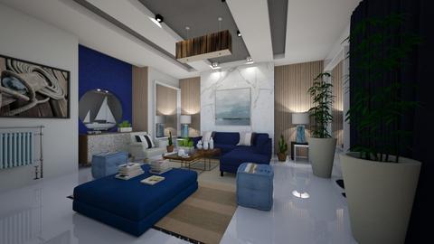 Blue_White_Stripes_Living - Modern - Living room - by Nikos Tsokos
