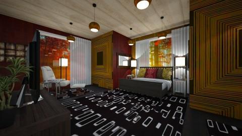 retro square bedroom - Retro - Bedroom  - by kla