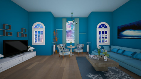 Blue and green - Glamour - Living room  - by Nina26