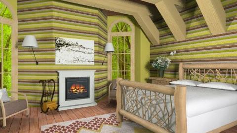 Lodge Guestroom - Rustic - Bedroom  - by chloedaniella