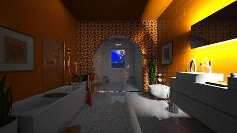 Orange and White Bath - Modern - Bathroom  - by Irishrose58