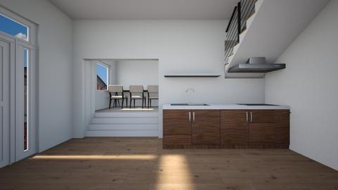 kitchen wih stairs - Kitchen  - by lokneszikolbasz