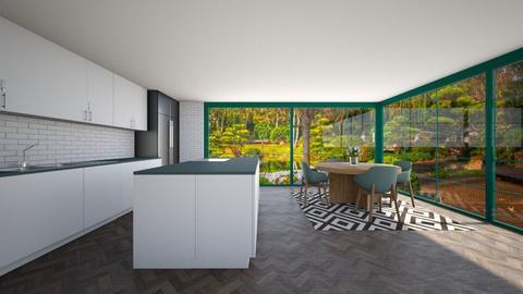 Green and White Kitchen - Kitchen  - by Tanem_Cagla