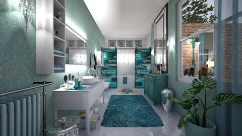 aqua accents - Bathroom - by hillygabe