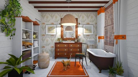 Orange white  bath - by chania