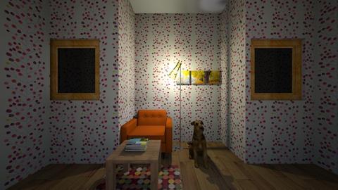 poranczowy pokoj - Living room  - by kwiatowa pandzia