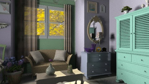 green and purple - Classic - Living room  - by RobertaS