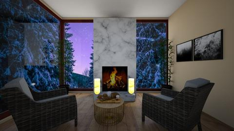 Cabin during winter time - Living room  - by Puppylover5673