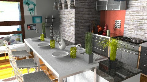 Industrial+Eclectic+Modern+Color=Love to Kitchen - Eclectic - Kitchen  - by idesine